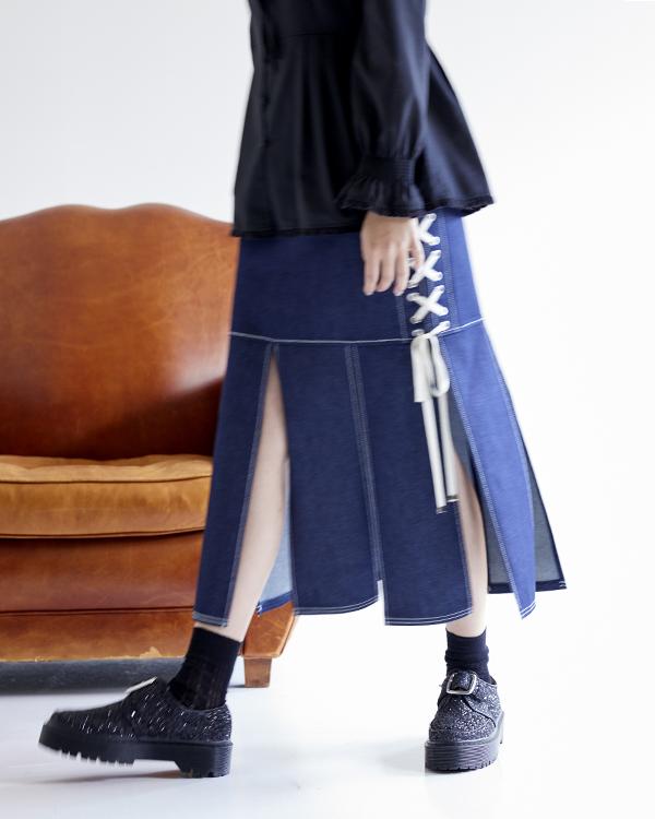 デニムレースアップスカート